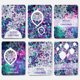 Set of 6 Colorful Merry Christmas and Happy New Year polygonal background with snowflakes, Royalty Free Stock Photography