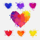Set of colorful messy hearts. Set of colorful hearts, vector hearts with paint splatters and stains Royalty Free Stock Photos