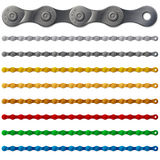 Set of colorful metal bicycle chain,  on white Royalty Free Stock Photo