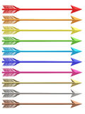 Set of colorful metallic arrows isolated on white Royalty Free Stock Photos