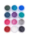 Set of colorful mineral eye shadows Royalty Free Stock Photos
