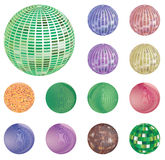 Set of colorful Mirror, mosaic disco ball. Illustration  on white background. Stock Image