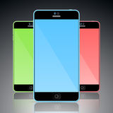 Set of colorful mobile smart phones Stock Images