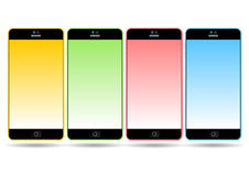 Set of colorful mobile smart phones Stock Photo