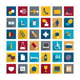 Set of colorful moder long shadows flat icon. Stock Image