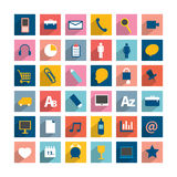 Set of colorful moder long shadows icon. Stock Images