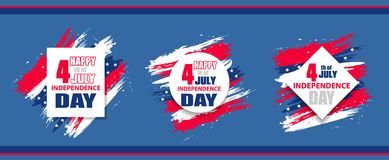Set colorful modern background for independence day USA 4th july. Dynamic design elements for a flyer, sale, brochures, presentati. Ons, party etc. Vector Royalty Free Stock Photos