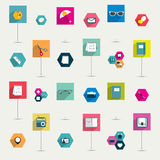 Set of colorful modern flat long shadows icon. Stock Photography