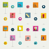 Set of colorful modern flat long shadows icon. Stock Images