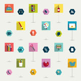Set of colorful modern flat long shadows icon. Royalty Free Stock Photo