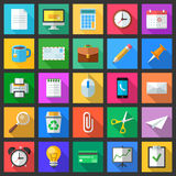 Set of colorful modern flat style icons with long shadows. Royalty Free Stock Photos