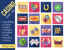 Set of colorful modern gambling icons, casino Stock Photos