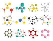 Colorful molecular structures in the form of sphere structure microscopic technology web design, molecule vector. Set of colorful molecular structures in the Stock Photos