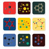 Colorful molecular structures in the form of sphere structure microscopic technology web design, molecule vector. Set of colorful molecular structures in the Royalty Free Stock Photos