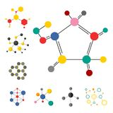 Colorful molecular structures in the form of sphere structure microscopic technology web design, molecule vector. Set of colorful molecular structures in the Stock Photo