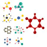 Colorful molecular structures in the form of sphere structure microscopic technology web design, molecule vector. Set of colorful molecular structures in the Royalty Free Stock Images