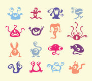 Set of colorful monsters bacteria Stock Images