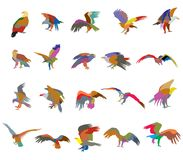 Set of colorful mosaic vector american eagle silhouettes. Set of vector colorful  cut out flying and sitting silhouettes of american eagle white-tailed eagle Royalty Free Stock Image