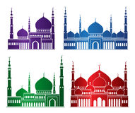 Set of Colorful Mosque or Masjid Elements royalty free illustration