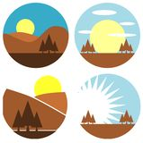 Set of colorful Mountain labels isolated Royalty Free Stock Photos