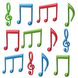 Set of colorful music notes 3d illustration Royalty Free Stock Photography