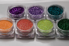 Set of colorful nail makeup glitter Stock Photography