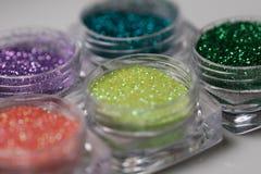 Set of colorful nail makeup glitter Stock Photos
