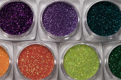 Set of colorful nail makeup glitter Royalty Free Stock Photos