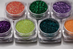 Set of colorful nail makeup glitter Royalty Free Stock Photography