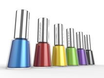 Set of colorful nail polishes - closeup shot. Isolated on white background Stock Photos
