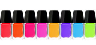 Set of colorful nail polishes isolated on white Stock Images