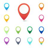 Set of colorful navigation pins, GPS location icons or web button pointers. Set of colorful navigation pins, GPS location icons or web button pointers on white royalty free illustration