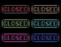 Set of colorful neon Closed signs Stock Photography