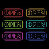 Set of colorful neon Open signs Stock Images