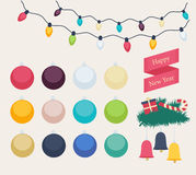 Set of colorful New Year icons stock illustration