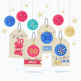 Set of colorful New Year Sale labels Royalty Free Stock Photo