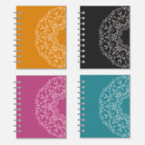 Set of colorful notebook covers with flower design Royalty Free Stock Photo