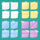 Set of colorful notes. Fixed with tape stock illustration