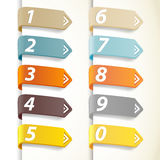 Set of colorful numbers with arrows. Vector art stock illustration