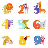 Colorful numbers from 1 to 9 and animals. Cartoon lion, zebra, giraffe, hippopotamus, crocodile, elephant, monkey. Set of colorful numbers from 1 to 9 and Stock Photos