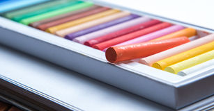 Oil pastels. Set of colorful oil pastels on white background Royalty Free Stock Photo