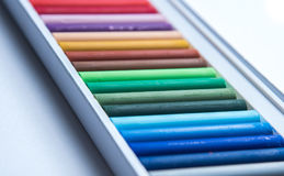 Oil pastels. Set of colorful oil pastels on white background Stock Image