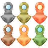 Set of Colorful Old Metal Diving Helmets Royalty Free Stock Photography