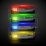 Set of 4 colorful options with numbers and glowing lights. Stock Photo
