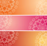 Set of colorful oriental elephant henna mandala horizontal banners Royalty Free Stock Images