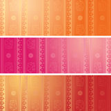 Set of colorful oriental elephant horizontal banners Royalty Free Stock Photography