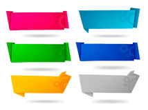 Set with colorful origami paper banners. Stock Photos