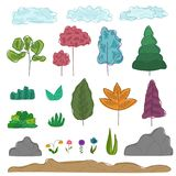 Set of colorful outline abstract trees, grass. Big set of colorful outline abstract trees, grass, rocks, clouds, flowers, ground. Cartoon nature objects for game royalty free illustration