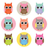 Set of Colorful Owl Characters. Vector illustration of colorful owls with nine color combinations. For EPS file, seamless patterns with black and white Stock Photography