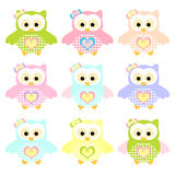 Set of Colorful Owl Stock Photography